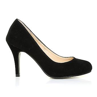 PEARL Black Faux Suede Stiletto High Heel Classic Court Shoes