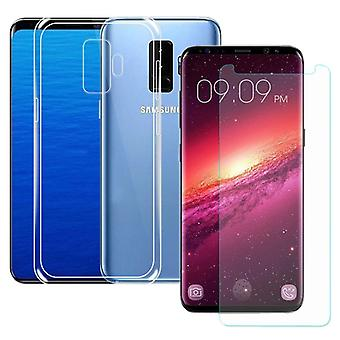 Silikoncase bag transparent + tank Protector for Samsung Galaxy S9 plus G965F sleeve product set