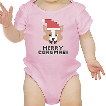 Merry Corgmas Corgi Pink Baby Bodysuit Cute Christmas Baby Gift Idea