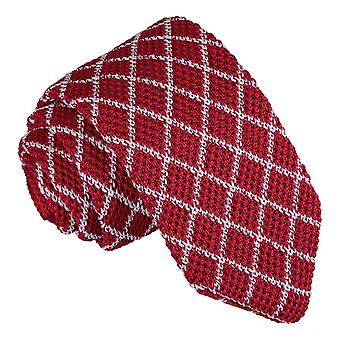 White and Red Diamond Grid Knitted Slim Tie