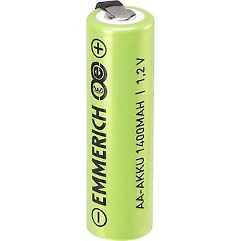 Emmerich A ULF Non-standard battery (rechargeable) AA U solder tab, High current loading NiMH 1.2 V 1400 mAh