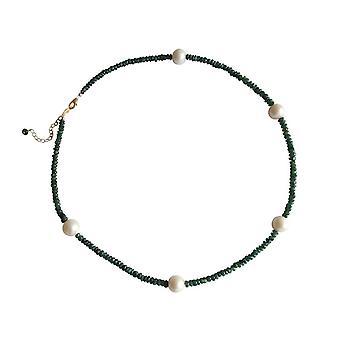 Gemshine - mujeres - collar - esmeralda - cuentas - chapado en oro - verde - blanco