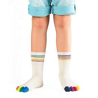Knitido Rainbow kinderen, antislip sokken met gekleurde tenen voor kinderen