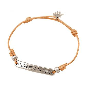Women - bracelet - engraved - ALL WE NEED IS LOVE - silver - bright coral - rose