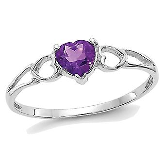 2/5 Carat (ctw) Amethyst Heart Promise Ring in 10K White Gold