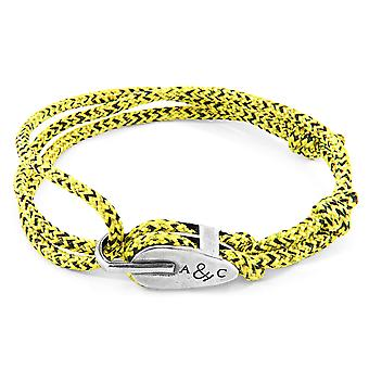 Anchor & Crew Yellow Noir Tyne Silver and Rope Bracelet