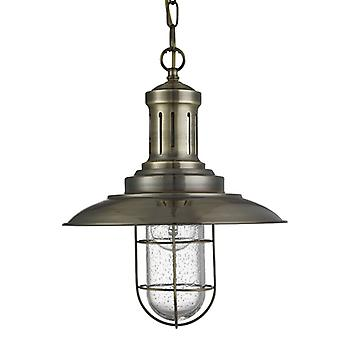 Fisherman Antique Brass Caged Pendant With Seeded Glass - Searchlight 5401ab