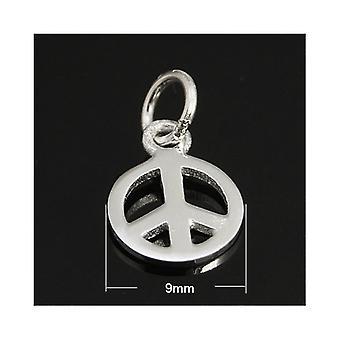 1 x Silber 925 Sterling Silber 9mm Friedenszeichen Charm-Anhänger ZX20020