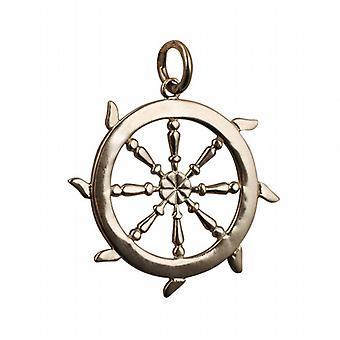 9ct or 17mm massif pendentif roue de navires ou de charme