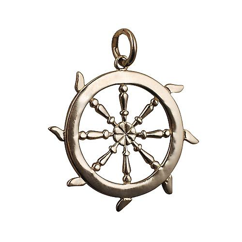 9ct Gold 17mm solid Ships Wheel Pendant or Charm