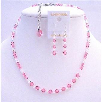Rose Swarovski Crystals brudkläder smycken klara kristaller halsband f637376672caf