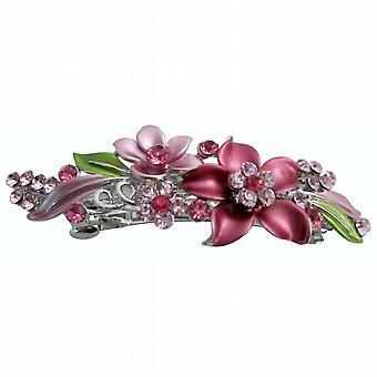 Prom Hair Barrette Pink Flower Enamel Green Leaves Crystals Hair Clip