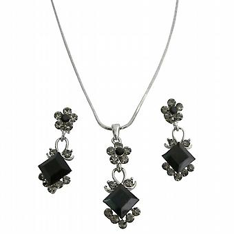 Black diamondJet Crystals Bridal Wedding Jewelry Set Cute Flower Necklce Set