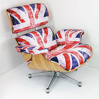 Charles Eames Lounge Chair & Ottoman- Ash wood with Union Jack