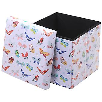Puckator Foldable Storage Stool, Butterfly Print
