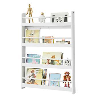SoBuy Wall White Wood 4 Tiers Kids Storage Shelving Bookcase Rack KMB08-W