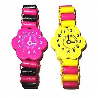 TOC Childrens Multi Colour Wooden Flower Watch Stretch Bracelet - Pack of 2