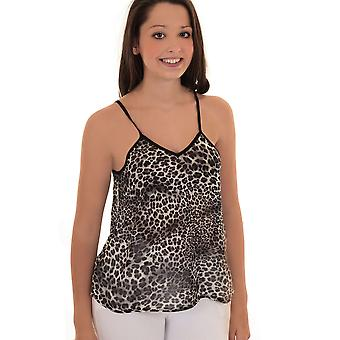 Ladies Sleeveless Strappy Semi Sheer Leopard Cut Out Low Back Flare Vest Top