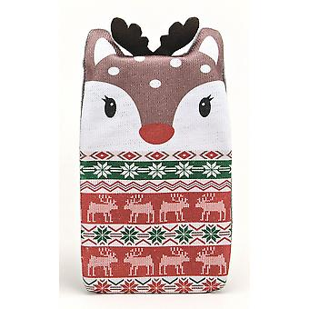 Fair Isle Animal Knitted Cover 1L Hot Water Bottle: Reindeer