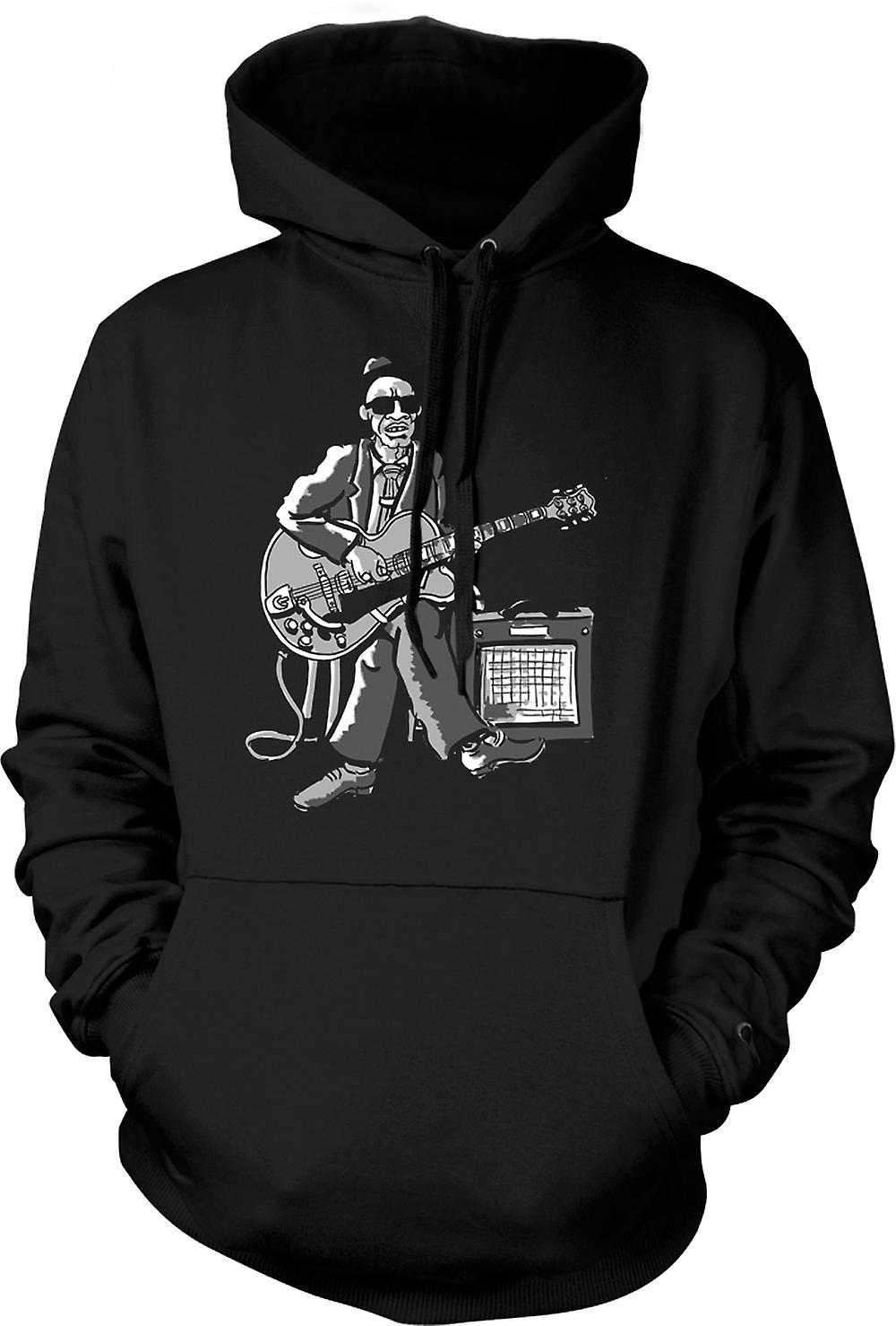 Mens Hoodie - Old Blues Guitarist With Amp - Music