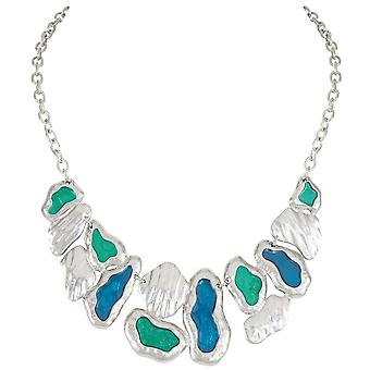 Eternal Collection Babylon Deep Teal Blue And Green Enamel Silver Tone Fashion Necklace