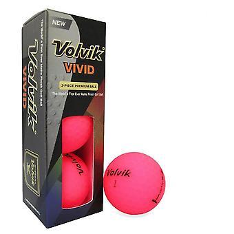 Volvik Vivid Golf ballen roze mouw van 3 ballen