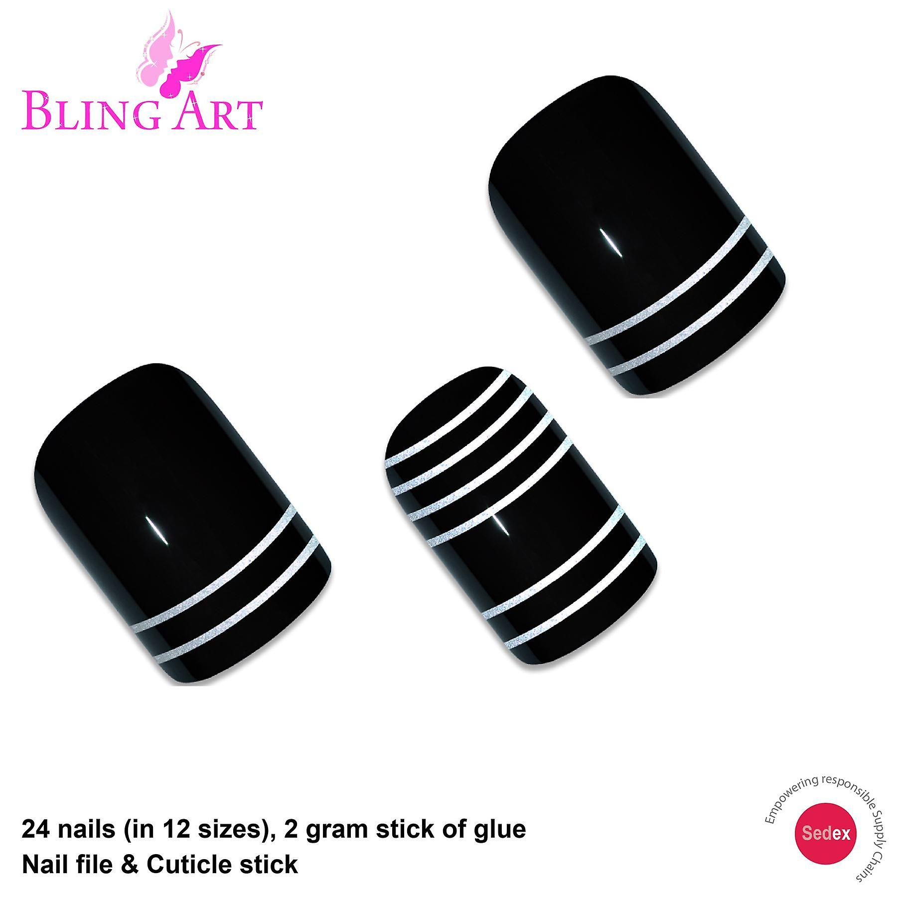 False nails by bling art black silver matte french squoval 24 fake medium tips