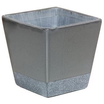 Wellindal Beige And Gray Ceramic Pot (Decoration , Jars)