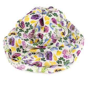 Eternal Collection Country Garden White Multi Coloured Floral Pure Silk Scarf