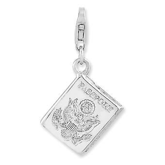 925 Sterling Silver Fancy Lobster Closure Rhodium-plaqué 3-d Passport With Lobster Clasp Charm