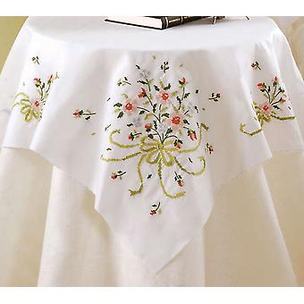 Estampillé Cross Stitch Table Topper 40 « X 40 » Bouquet de mariée 45179