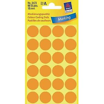 Avery-Zweckform 3173 Labels (hand writable) Ø 18 mm Paper Fluorescent orange 96 pc(s) Permanent Sticky dots