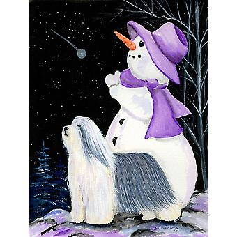 Snowman with Bearded Collie Flag Garden Size
