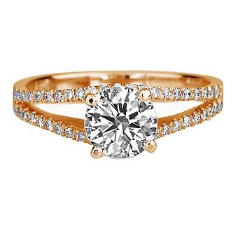 1.31 Carat D VS2 Diamond Engagement Ring 14K Rose Gold Solitaire w Accents Micro Pave Split Shank