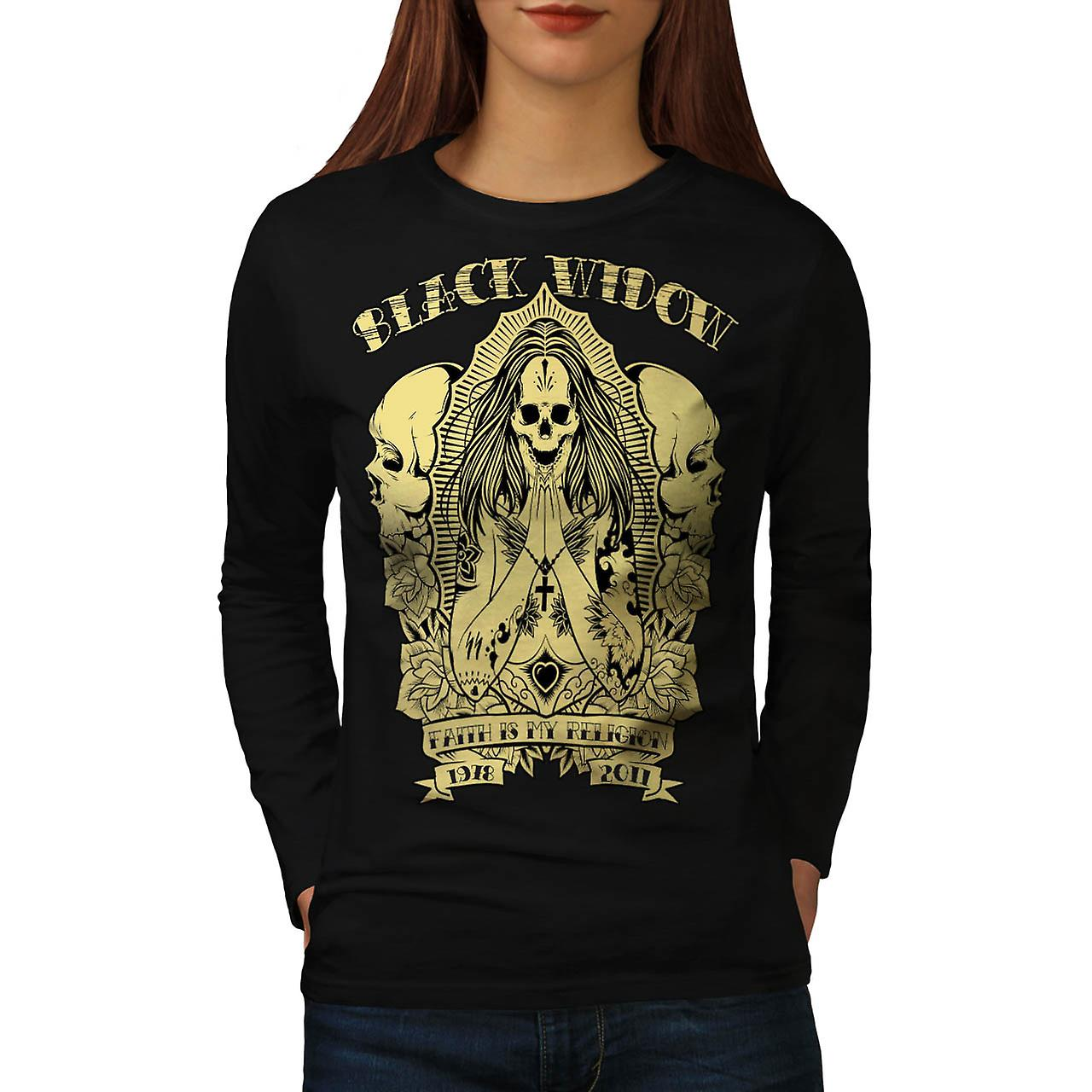 Black Widow Skull Death Faith Women Black Long Sleeve T-shirt | Wellcoda