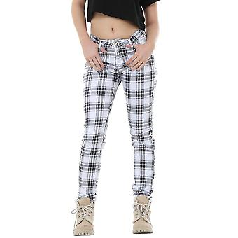 Verifica in Tartan Plaid pantaloni componibile Slim - bianco & nero