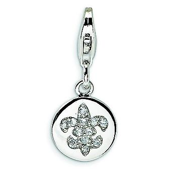Sterling Silver Cubic Zirconia Fleur de Lis Ornament With Lobster Clasp Charm - Measures 23x10mm
