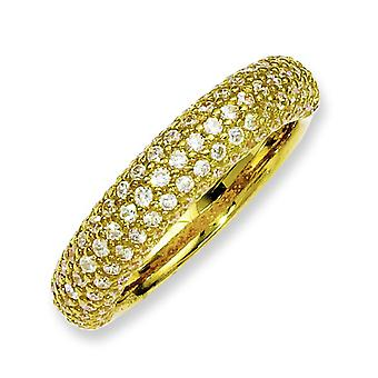 Sterling Silver Pave Polished Prong set Gold-Flashed With Cubic Zirconia Ring - Ring Size: 6 to 8