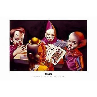 Clown Kids Playing Poker Movie Poster (17 x 11)