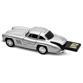 Mercedes Benz 300SL Gullwing bil USB Memory Stick 16Gb - sølv
