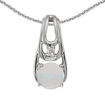 10k White Gold Round Opal And Diamond Pendant with 16