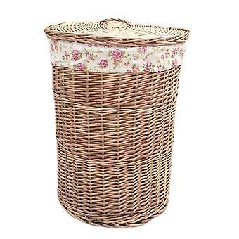 Kleines Licht gedämpft Runde Wäschekörbe mit Garten Rose Futter