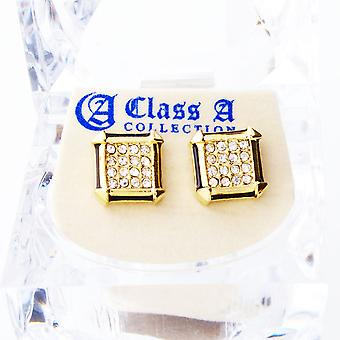 Gold bling iced out earrings - PAVE SQUARE