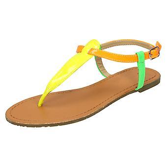 Womens Spot On Flat Ankle Strap Toepost Sandal