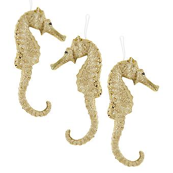 Przybrzeżnych Szampan złoto Brokatowy koniki morskie Boże Narodzenie wakacje ozdoby zestaw 3