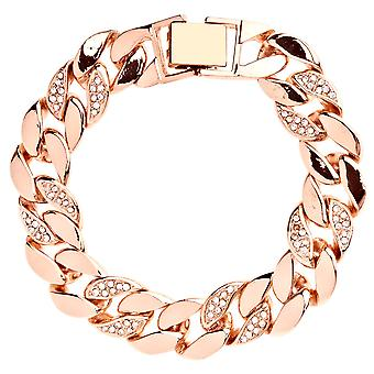 Iced out BOLD CZ hip hop bracelet - CURB 15mm rose gold
