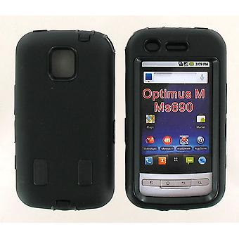 Dual Snap-on Hard Case for LG Optimus M MS690 (Black/Black)