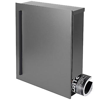MOCAVI box 110R design mailbox with newspaper box grey aluminium (RAL 9007) wall letter box, Castle links, large 12 litre