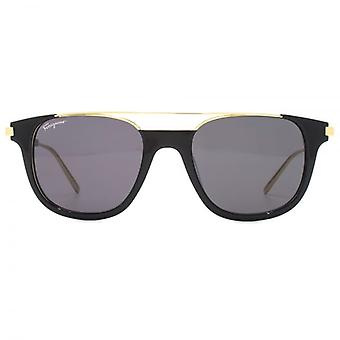 Salvatore Ferragamo Metal Brow Detail Sunglasses In Black Gold