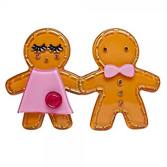 Camille Big Baby Womens dames mode sieraden verzengend oranje Gingerbread Man broche speld